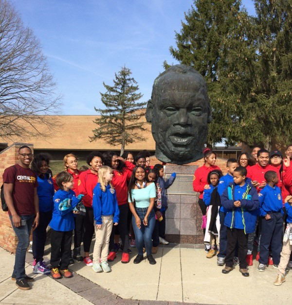 Fifth and sixth grade students at John P. Parker Elementary visiting Central State University with their eleventh and twelfth-grade mentors.