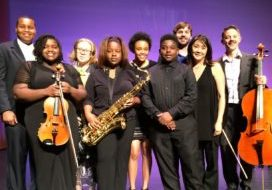A picture of recipients of the Benjamin Carlson-Berne Scholarship Fund after a performance in 2017.